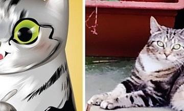 Urocze portrety zwierząt domowych w stylu anime.
