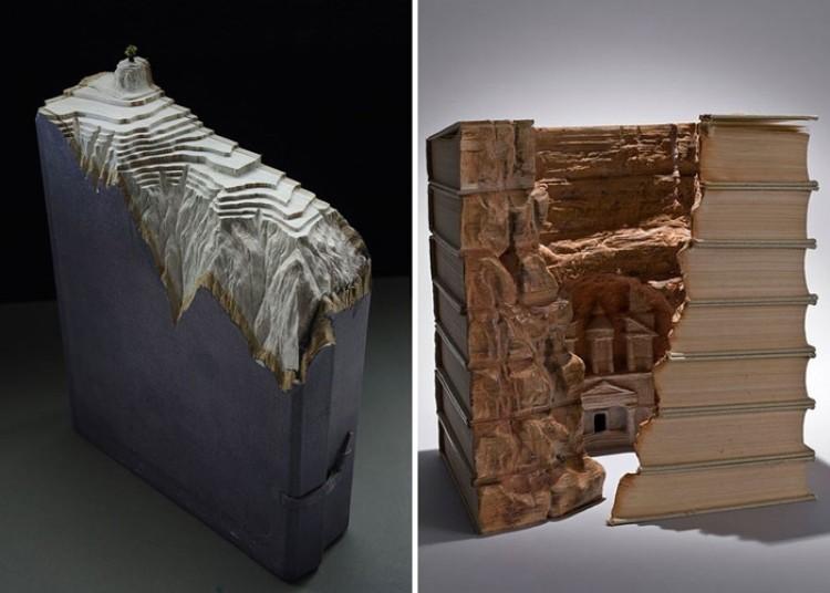 Krajobrazy wycięte z książek Carving na książkach Guy Laramie.