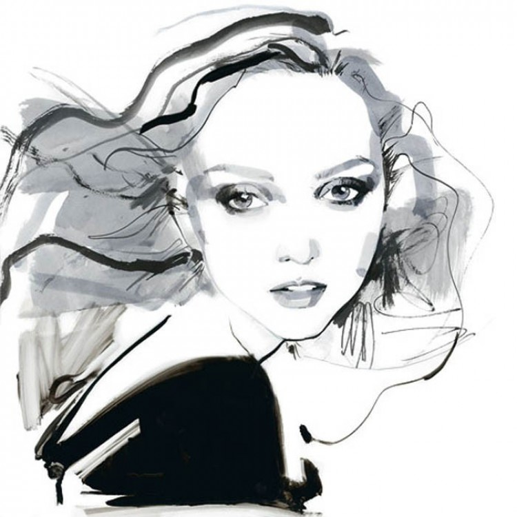 Lily Cole na rysunkach Davida Downton.