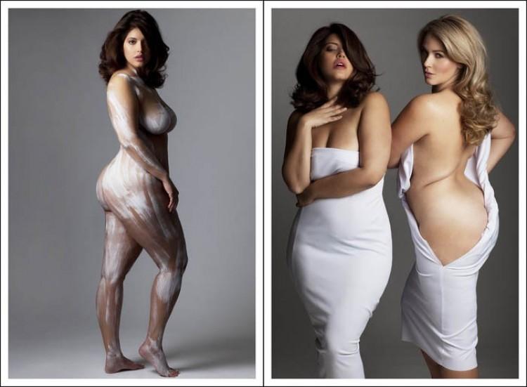 Zdjęcia kobiet z wagą, daleką od standardów modelkowych.