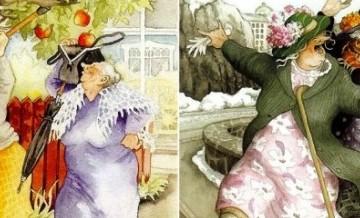 Buntownicze staruszki: seria obrazków łobuzerskich przyjaciółek.