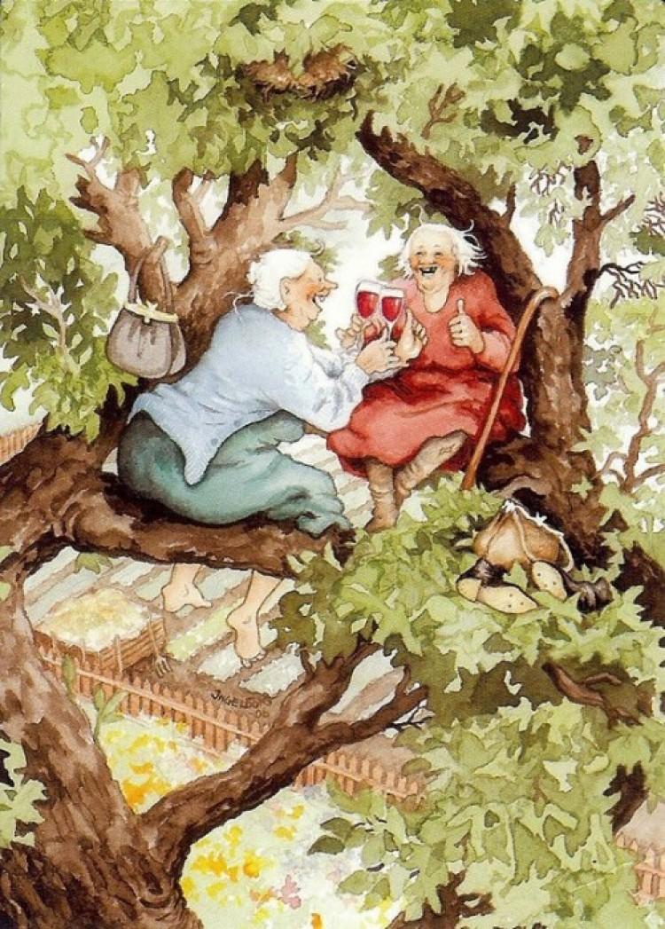 Picie wina na drzewie.