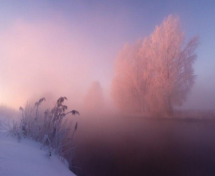 Zimowy poranek nad rzeką Svisloch, Białoruś.