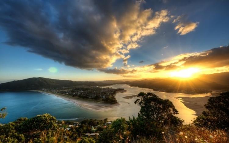 Zachód słońca w Nowej Zelandii.