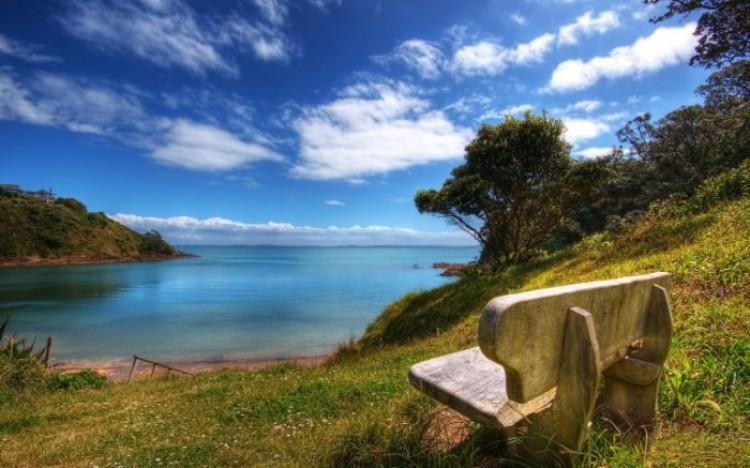 Miejsce na relaks. Wspaniały widok na otwarte przestrzenie Nowej Zelandii.