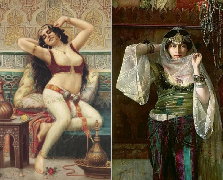 Obrazy z XIX i XX wieku: wschodnie orientalne piękności na płótnach artystów.