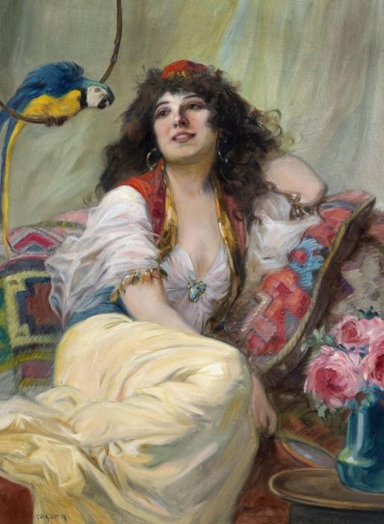 Richard Geiger, (1870/45). Konkubiną z papuga (Haremsdame mit Papagei).