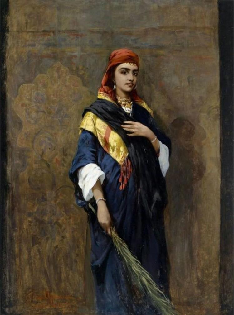 Thaddaus von Ajdukiewicz, (1852/16) Portret orientalnej kobiety z gałęzią w ręku.