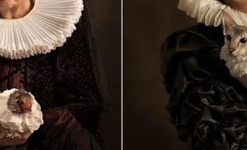Wyrafinowane portrety pięknych kobiet, wykonane w duchu malarstwa flamaandzkiego.