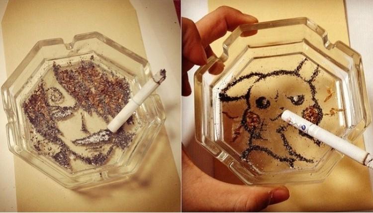 Ministerstwo Zdrowia ostrzega: śmieszne rysunki z popiołu papierosowego.