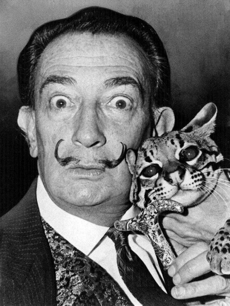 Salvador Dali ze swoim ocelotem Babu