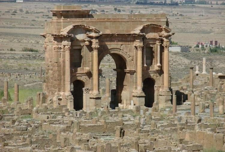 Starożytne rzymskie ruiny. Timgad. Algieria