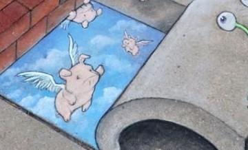 Artysta upiększa szare ulice swojego miasta rysunkami.