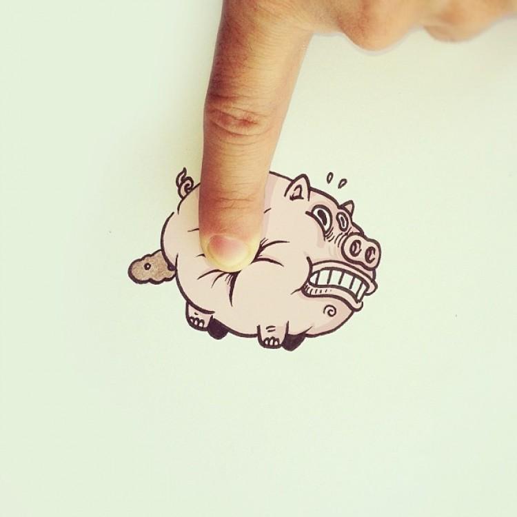 Nie naciskaj na brzuch świni!