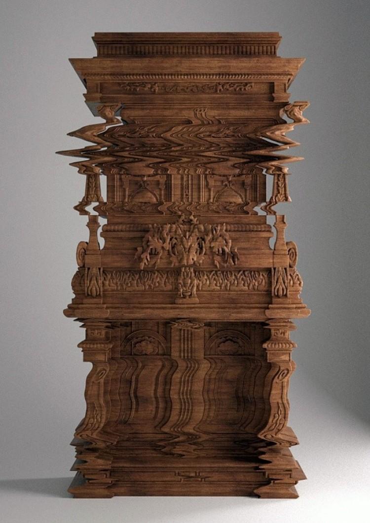 Skrzynia misternie rzeźbiona, przypominająca komputerowego