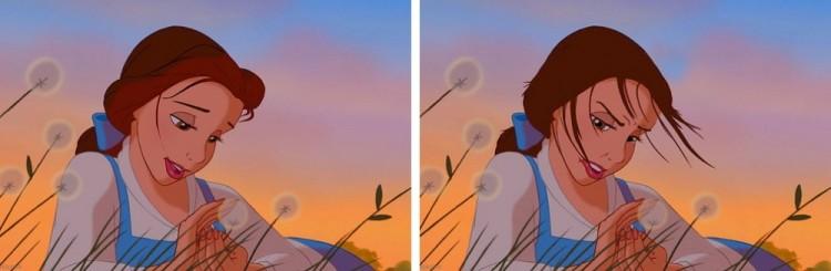 Przyklejone do czoła włosy Belle