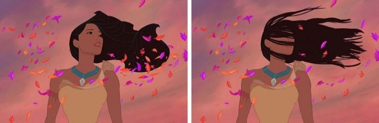 Włosy Pocahontas podczas gwałtownego podmuchu wiatru