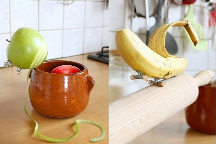 Zabawna seria zdjęć owoców i warzyw deskorolkarzy.