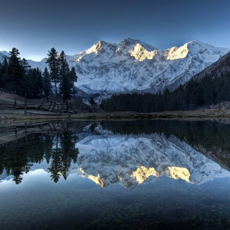 Jedna najwyższych gór Nanga Parbat w Pakistanie.